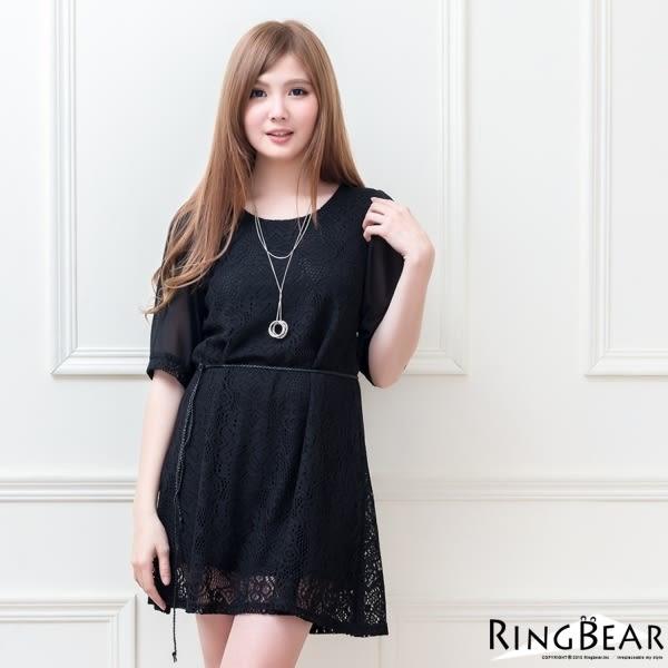 蕾絲洋裝--浪漫滿版蕾絲傘狀下擺附編織綁帶洋裝(黑.可可XL-5L)-D341眼圈熊中大尺碼◎