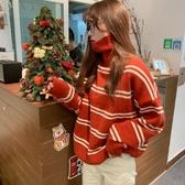 加厚高領毛衣女秋冬韓版學生寬鬆百搭慵懶外穿網紅條紋針織衫 雅楓居