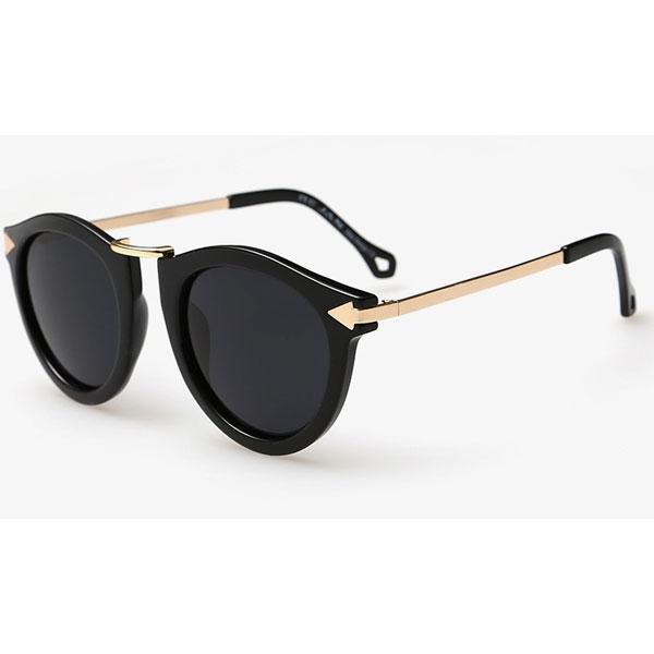 OT SHOP太陽眼鏡‧抗UV400圓框偏光墨鏡‧箭頭造型設計金屬鏡腳‧亮黑/茶色/花色框‧現貨NF05