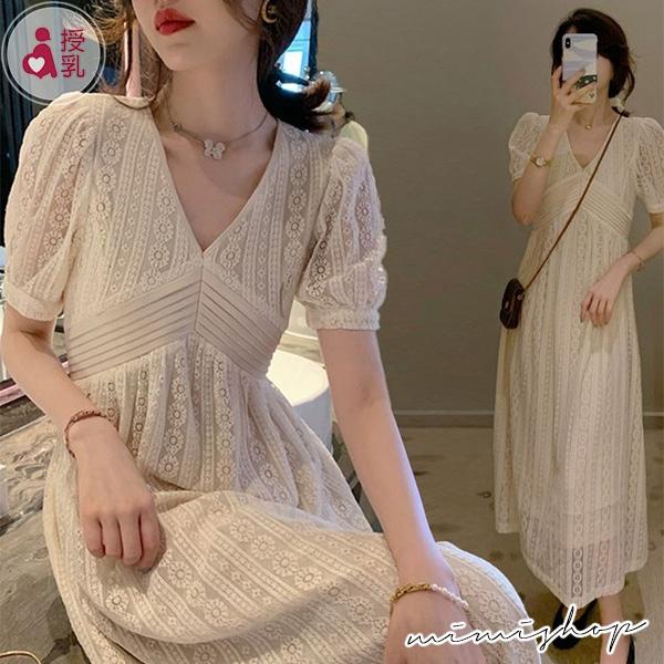 孕婦裝 MIMI別走【P12321】法式優雅 雅緻鏤空蕾絲哺乳裙 孕婦洋裝 長裙