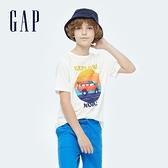 Gap男童 純棉童趣印花短袖T恤 733839-白色