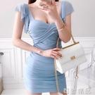 新款夏方領抹胸褶皺修身顯瘦短款包臀裙低胸夜 店性感洋裝 可然精品