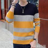 秋冬季男士長袖t恤毛衣秋衣上衣服男加絨圓領條紋針織打底衫  夢想生活家
