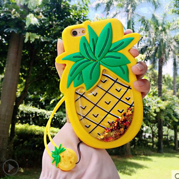 立體菠蘿 蘋果 iPhone7 plus i8plus 手機殼 液體閃粉 i6splus 矽膠套 iPhoneX 卡通 保護殼 保護套 手機套