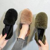 豆豆鞋 毛毛鞋女豆豆鞋秋冬季新款百搭一腳蹬平底棉鞋子韓版加絨瓢鞋