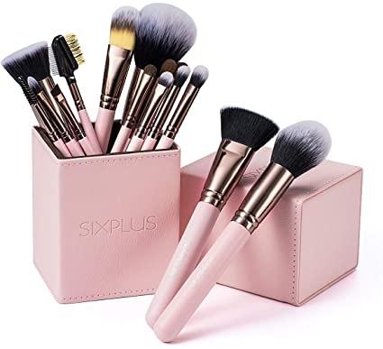 SIX PLUS 【日本代購】限量版魅力的咖啡色化妝刷15支套裝 - 粉紅色