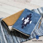 GLOBAL WORK男女素色皮革毛絨圖騰磁釦雙面拉鍊手拿包-二色
