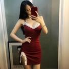 性感緊身短裙夜場裝蕾絲邊性感情趣低胸露背吊帶連身裙緊身包臀開叉夜店超短裙
