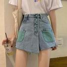 牛仔短褲 春裝新款韓版一排扣高腰牛仔褲女直筒寬松顯瘦闊腿褲熱褲短褲 寶貝計書