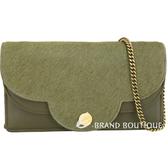 SEE BY CHLOE Polina 花瓣造型馬毛拼接手拿/鍊帶包(橄欖綠) 1840369-C9