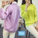 【V2705】shiny藍格子-鮮明視覺.純色圓領針織毛衣長袖上衣