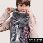 OT SHOP圍巾‧經典時尚格紋千鳥格混色雙色圍巾溫暖加厚款格子流蘇披肩‧千鳥格‧現貨‧D375