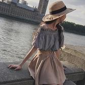 兩件套洋裝 網紅chic夏裝新款一字領露肩上衣A字半身裙時尚兩件套裝洋裝女 夏季狂歡