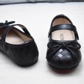 米蘭 新款真皮內里童鞋方格蝴蝶結女童小皮鞋軟底1-4歲寶寶春秋時尚鞋