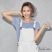 Victoria 鬆緊帶平肩式拉克蘭短袖T-女-藍條