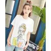 CANTWO JEANS抽像人物圖刺繡T恤-共兩色