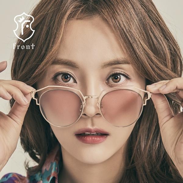 【Front 太陽眼鏡】Seve-四色可挑選#金屬造型感圓形大框太陽眼鏡