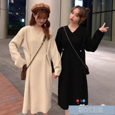 孕婦毛衣中長款秋裝套裝時尚款針織裙潮媽孕婦裝洋裝秋冬打底衫 快速出貨