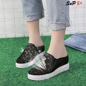 包頭 半拖鞋 內增高 包頭半拖鞋 坡跟 厚底 鬆糕外穿 涼拖鞋 懶人鞋