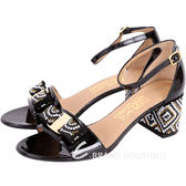 Salvatore Ferragamo Gavinamosa 黑色珠飾漆皮粗跟涼鞋 1720253-01