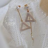 現貨◆PUFII-耳環 正韓珍珠三角形耳環-0226 春【CP18041】