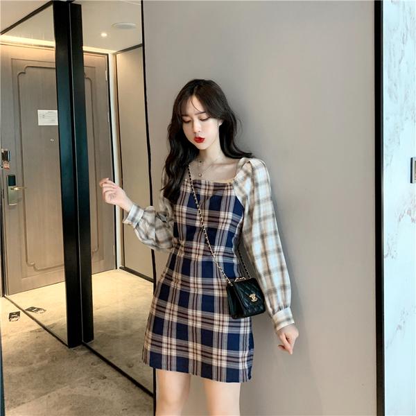 VK旗艦店 韓系復古百搭格紋拼色收腰方領長袖洋裝