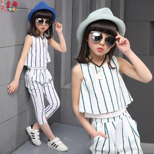 衣童趣 ♥韓版女童 新款 熱賣 無袖 兩件式套裝 上衣+長褲 街頭時尚女童套裝