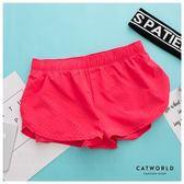 Catworld 圓孔花紋防走光雙層運動短褲【14001170】‧S-L