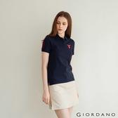 【GIORDANO】女裝麋鹿漸層刺繡短袖POLO衫 - 66 標誌海軍藍