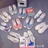 帆布鞋女夏季一腳蹬平底老北京布鞋女休閒透氣漁夫韓版懶人單鞋子      芊惠衣屋