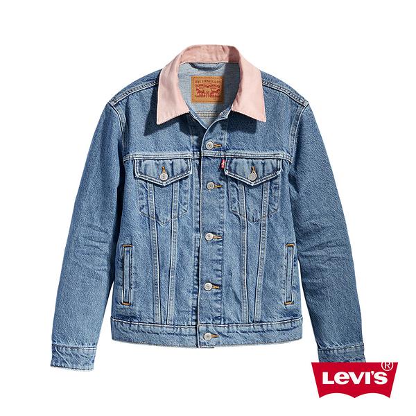Levis 女款 牛仔外套 / Boyfriend寬鬆版型 / 粉紅燈心絨領
