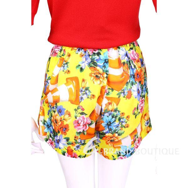 MOSCHINO 黃色三角錐圖印花朵印花打摺短褲 1620605-66