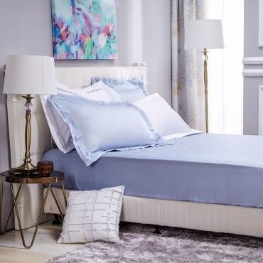 HOLA 雅緻天絲素色被套單人-淡藍