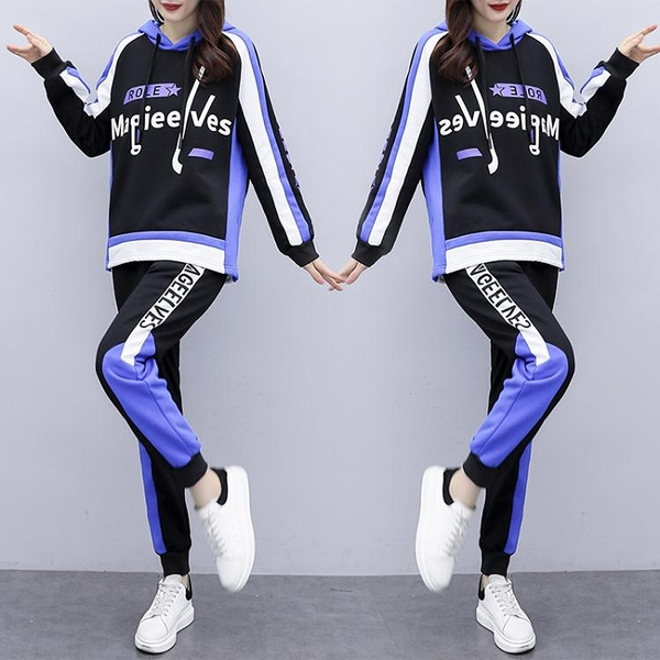 休閑運動套裝XL-5XL 2020秋裝新款韓版大碼胖mm200斤時尚顯瘦拼色套裝4F077 依品國際