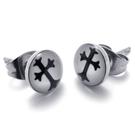 《 QBOX 》FASHION 飾品【E074491】精緻個性復古十字架鈦鋼插式耳環(防過敏)