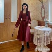 舒適洋裝 裙子秋季2020新款小個子方領長袖洋裝女秋冬收腰法式復古A字裙 快意購物網