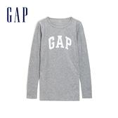 Gap女裝 Logo長袖圓領T恤 495487-亮麻灰色