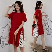 初心 韓系 洋裝 【D2786】 俏麗 波點 短袖 拼接 點點 韓國 質感 洋裝