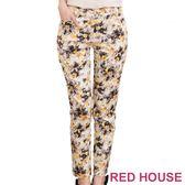 【RED HOUSE-蕾赫斯】修身滿版花紋窄管褲(金黃色)