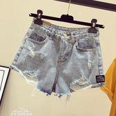 高腰破洞牛仔短褲女夏季新款大碼胖mm寬鬆顯瘦學生ins闊腿a字熱褲「夢娜麗莎精品館」