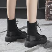 靴子女秋冬馬丁靴女2019新款百搭加絨襪靴英倫風機車靴女厚底短靴