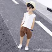 童裝男童夏裝背心套裝2018新款兒童夏季無袖中大童男孩棉麻兩件套 美芭