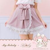 短裙 My Melody x Ruby 聯名款.正反兩穿壓摺蕾絲滾邊蝴蝶結短裙-粉色-Ruby s 露比午茶