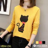F-DNA★蝴蝶結黑貓咪圓領長袖上衣T恤(3色-M-2XL)【ET12855】