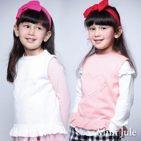 Mini Jule女童 背心 愛心造型荷葉下擺針織背心(共2色)