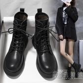 冬季馬丁靴英倫風黑色百搭機車短靴2020年新款單靴春秋平底瘦瘦靴 聖誕節全館免運