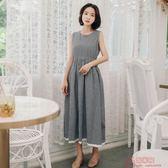 復古格紋裙子無袖純棉收腰顯瘦過膝連身裙