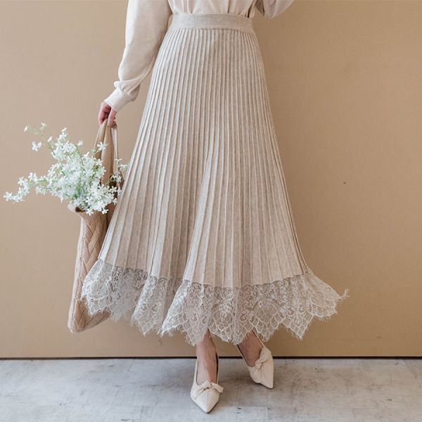 MIUSTAR 下襬拼接蕾絲鬆緊坑條針織中裙(共2色)【NH2745】預購