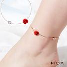 925純銀玫瑰花鑲鑽質感精緻腳鍊 FiDA