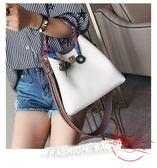 售完即止-撞色水桶包絲巾包包女韓版百搭挎包時尚簡約手提斜挎包單肩包10-12(庫存清出T)